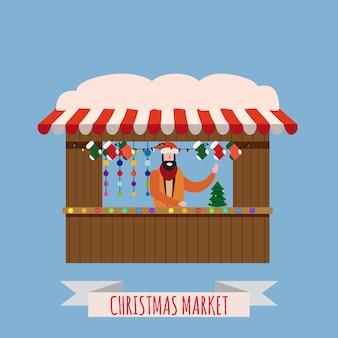 Рождественский рынок прилавков навес продавца с новогодними украшениями