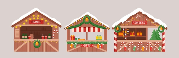Christmas market stalls kiosks illustration set.