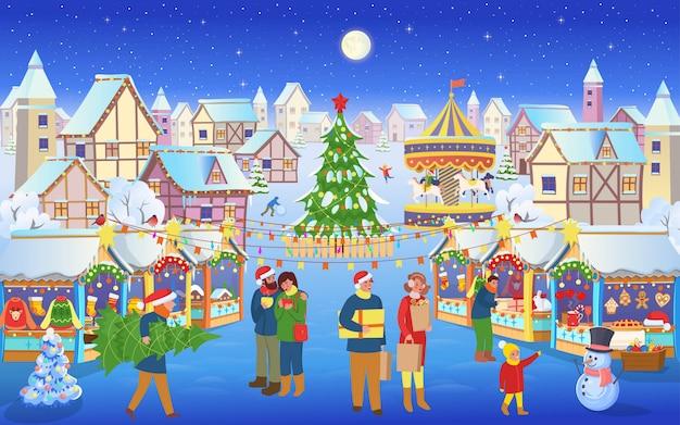 人とクリスマスマーケットクリスマスツリー、馬と家のカルーセル。漫画のスタイルのベクトル図。