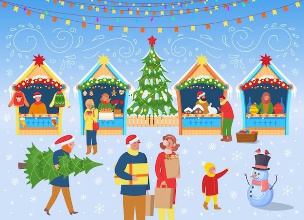 人とクリスマスマーケット、クリスマスツリー、馬と家のカルーセル。フラットの漫画のスタイルのベクトル図。