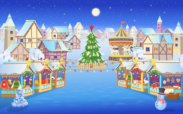 Christmas market with people a christmas tree, carousel with horses and houses.vector illustration in cartoon  style.