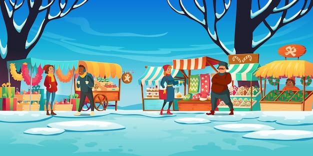 Рождественский базар с прилавками, продавцами и покупателями, зимняя уличная ярмарка с киосками, традиционные сладости и подарки, продажа елочных украшений.