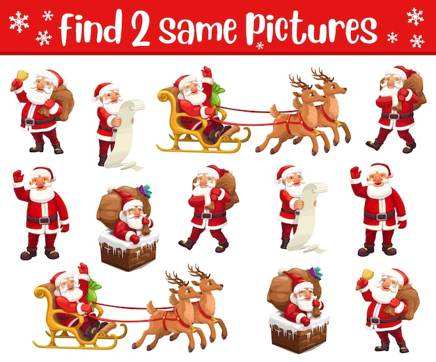 Christmas matching game with santa characters. cartoon template of children education memory puzzle, find two same pictures of santa claus with xmas gift bag, reindeers, sleigh and chimney