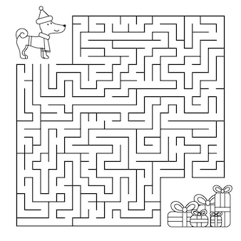 Christmas maze for children, funny dog looking for gifts. coloring page.