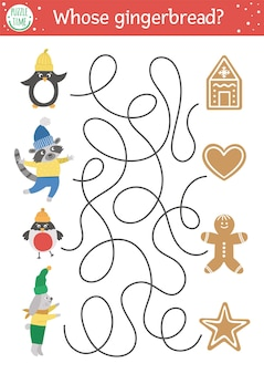 Christmas maze for children. winter new year preschool printable educational activity. funny holiday game or puzzle with cute animals and cookies. whose gingerbread?