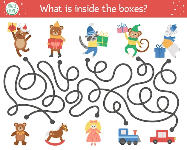 Christmas maze for children. winter new year preschool printable educational activity. funny holiday game or puzzle with cute animals, presents and toys. what is inside the boxes?