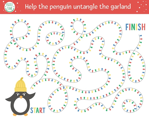 Christmas maze for children. winter new year preschool printable educational activity. funny holiday game or puzzle with cute bird in hat. help the penguin untangle the garland