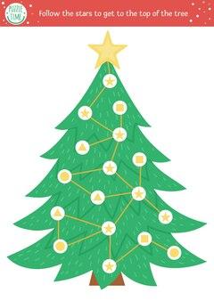子供のためのクリスマスの迷路。形状認識の練習を伴う冬の就学前の印刷可能な教育活動。面白いホリデーゲームやモミの木とパズル。星をたどってトップにたどり着く