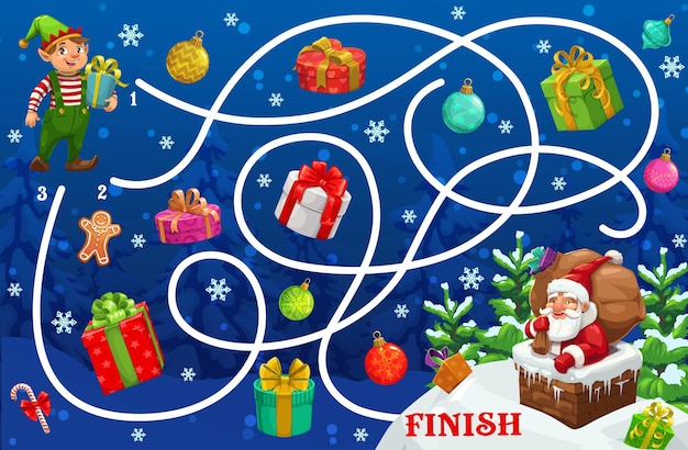 Christmas maze game with santa and gifts cartoon labyrinth, vector puzzle of kids education. start to finish game, puzzle or riddle, help xmas elf with gift box find way to santa claus in chimney