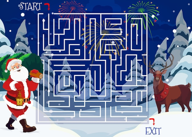 Christmas maze or labyrinth game with santa claus