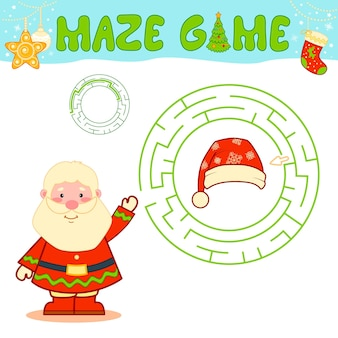 子供のためのクリスマスの迷路パズルゲーム。サンタクロースとのサークル迷路または迷路ゲーム。