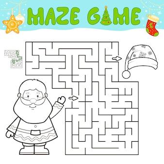 어린이를 위한 크리스마스 미로 퍼즐 게임. 크리스마스 산타 클로스와 함께 미로 또는 미로 게임을 설명합니다.