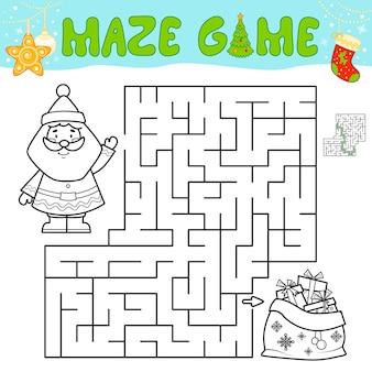어린이를 위한 크리스마스 미로 퍼즐 게임. 산타 클로스와 함께 미로 또는 미로 게임을 설명합니다.