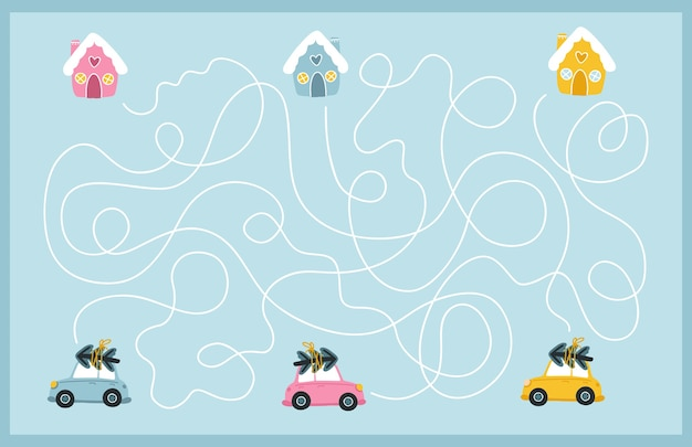 Рождественский лабиринт. найдите путь разноцветных машин к их дому. настольная игра для развития ребенка. веселые праздники.