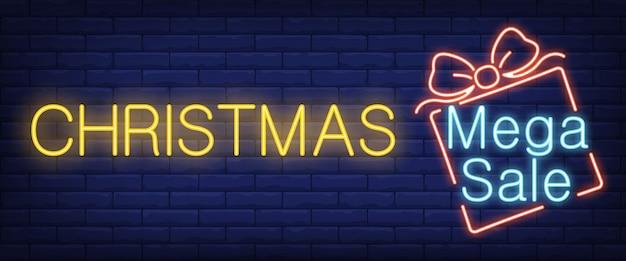 Рождественский мега продажа неоновый знак