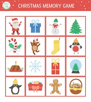 Christmas memory game cards with traditional holiday symbols. matching activity with funny characters. remember and find correct card. simple winter printable worksheet for kids.