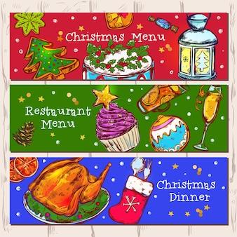 Christmas menu banners set