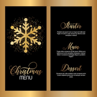 キラキラのスノーフレークとクリスマスメニューデザイン