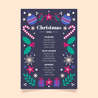 Christmas menu flat design template
