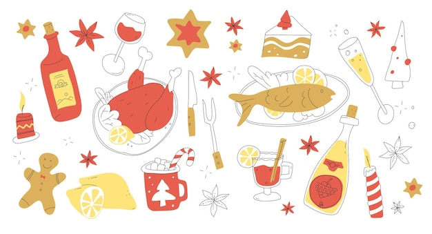 落書きスタイルのクリスマスメニューセットクリスマスイブの食べ物と飲み物メリークリスマスディナークリスマスパーティーおいしい