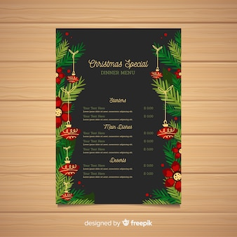 Christmas menu template flat design style