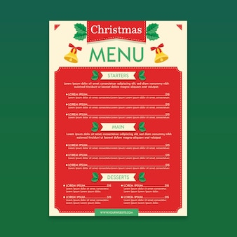 Christmas menu template in flat design