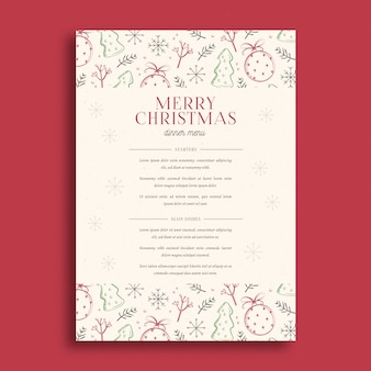 Christmas menu template hand drawn design