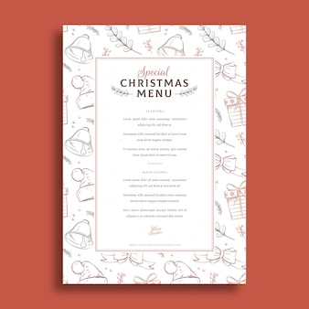 Christmas menu template hand drawn style