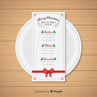 Шаблон рождественского меню в плоском дизайне