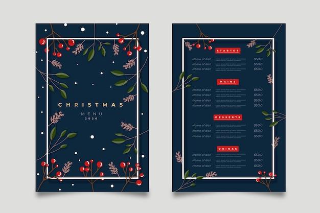 Рождественский шаблон меню в плоском дизайне