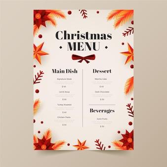 평면 디자인의 크리스마스 메뉴 템플릿
