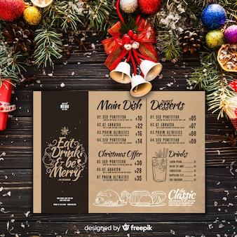 빈티지 스타일의 크리스마스 메뉴 템플릿