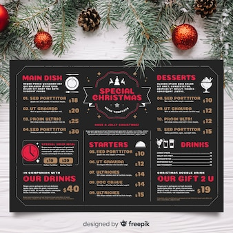 Christmas menu template in vintage style