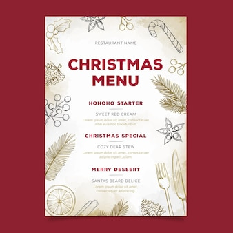 Christmas menu template in watercolor