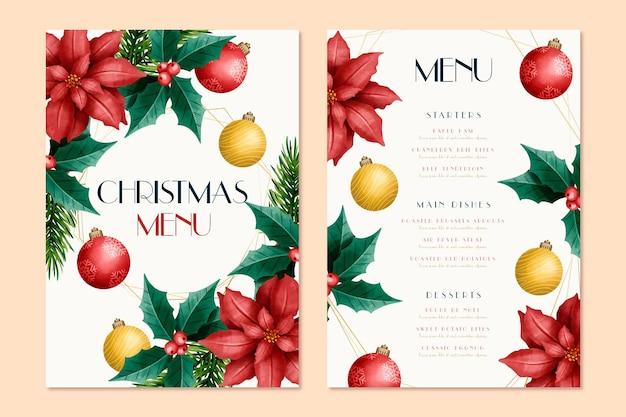 Christmas menu template in watercolor