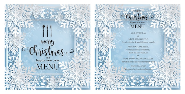 Christmas menu template with beautiful winter theme in paper cut style