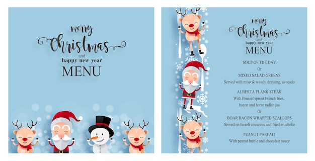 Christmas menu template with cute characters. santa claus, snowman and reindeer