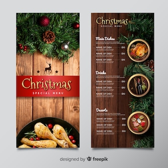 Christmas menu template with image