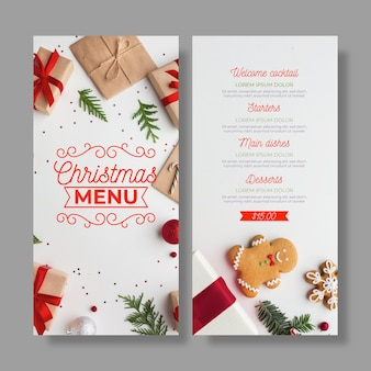 Christmas menu template with photo set