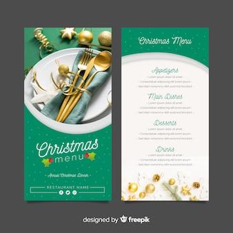 Christmas menu template with photo