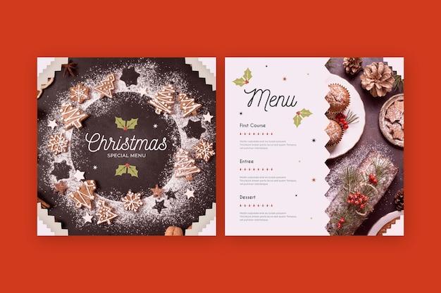 Рождественский шаблон меню с фото