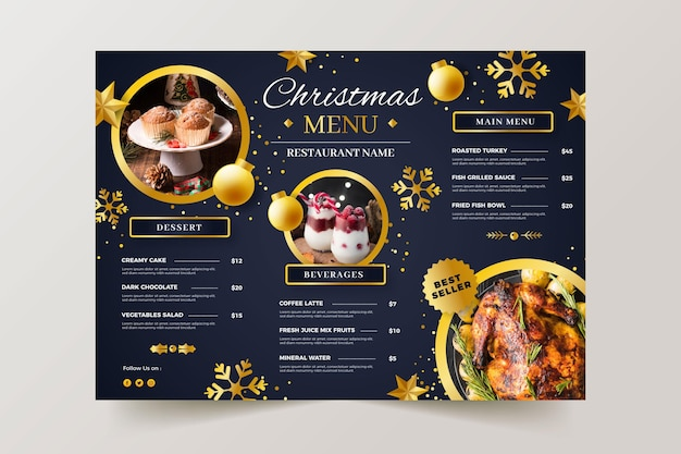 Christmas menu template with photo