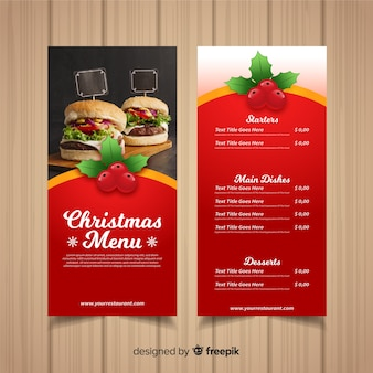 Christmas menu template with photography