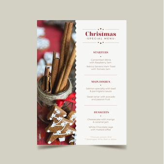 Christmas menu template with picture