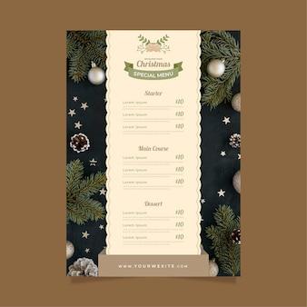 Christmas menu template