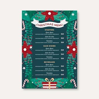 Рождественское меню templateein плоский дизайн