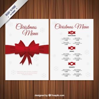 赤いリボンとクリスマスメニュー