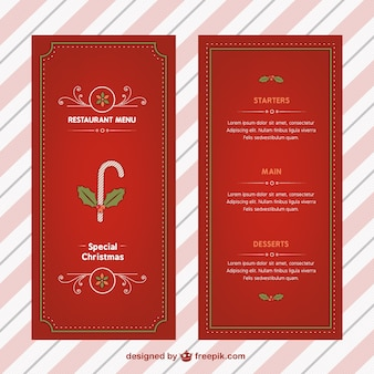 Christmas menu with candy cane