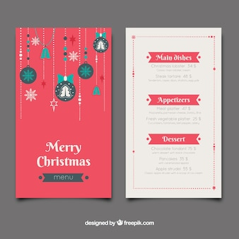 Christmas menu with christmas balls