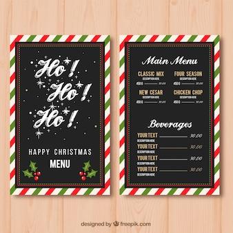 Рождественское меню с декоративной рамкой